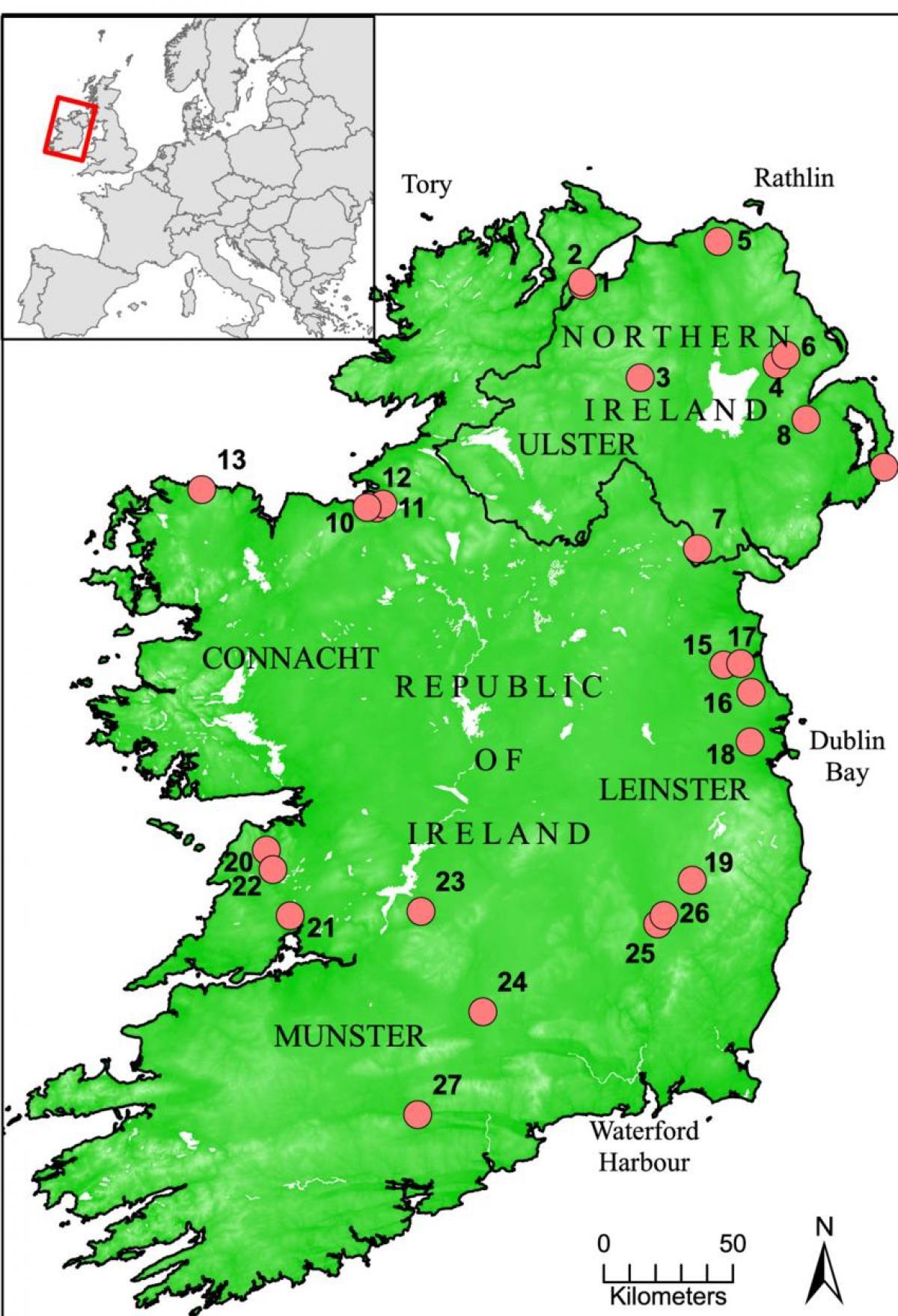 Floder Af Irland Kort Kort Over Irland Viser Floder I Det